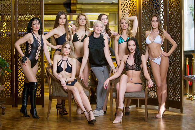 Contestants from left to right; Alina Yan, Jolanta Wnuk, Victoria Kalnina, Alina Markova, Arina Cernysiova, Anastasia Boil, Sitting – Eveliva Vasilijevaite (bottom left), Viktorija Kartanovic (bottom right)