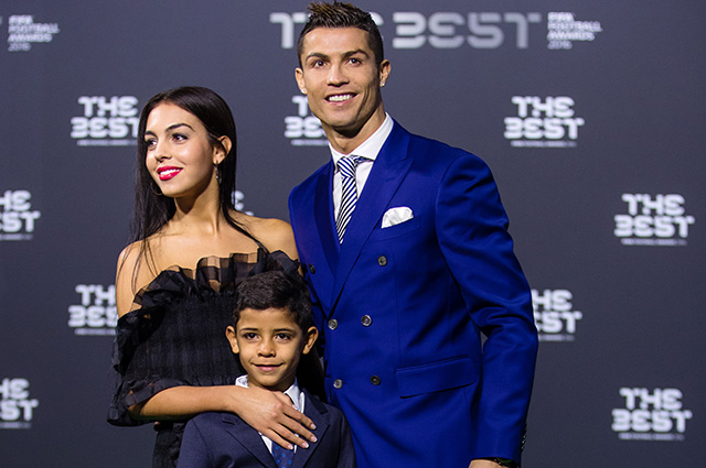 Christiano Ronaldo with girlfriend Georgina Rodriguez and his son
