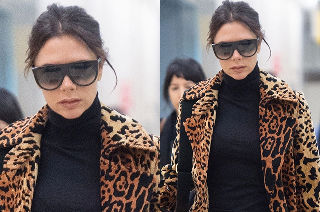 Walking advertisement: Victoria Beckham in leopard coat its own brand has arrived in New York