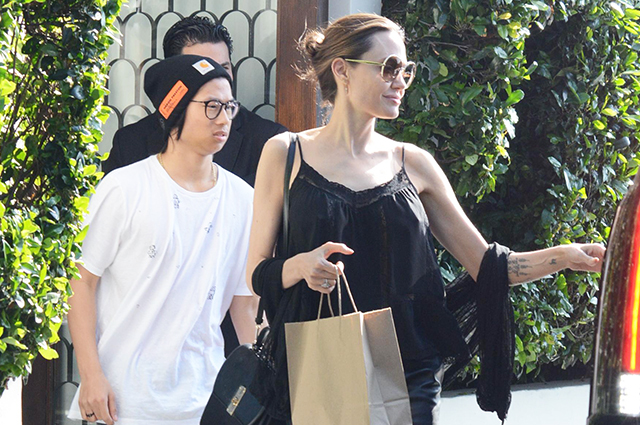 Angelina Jolie on a walk with her son Pax in West Hollywood: new photos