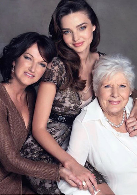 Miranda Kerr with her mother and grandmother