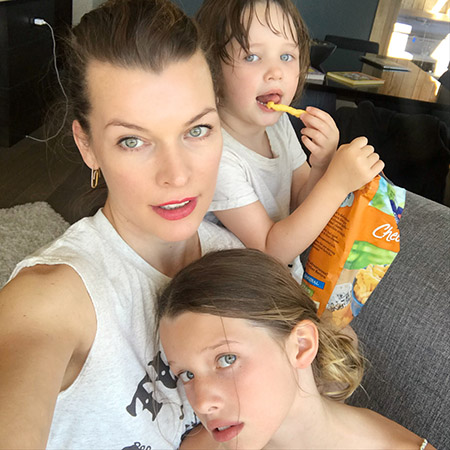 Milla Jovovich with daughters Eva and Dashiel