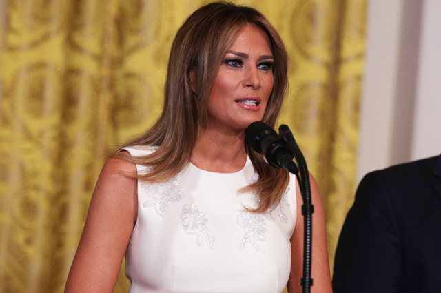 Once again: Melania Trump repeated the image of a year ago at an official reception at the White House
