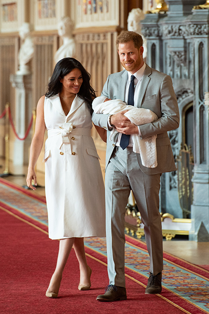 Megan Markle and Prince Harry with their newborn son