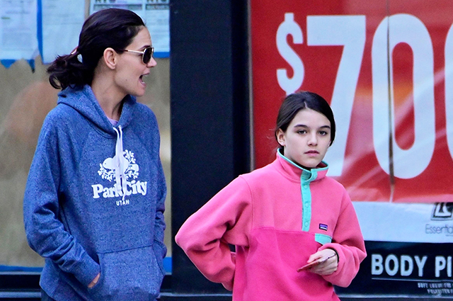 Motherhood: Katie Holmes on a walk with her daughter Suri in New York