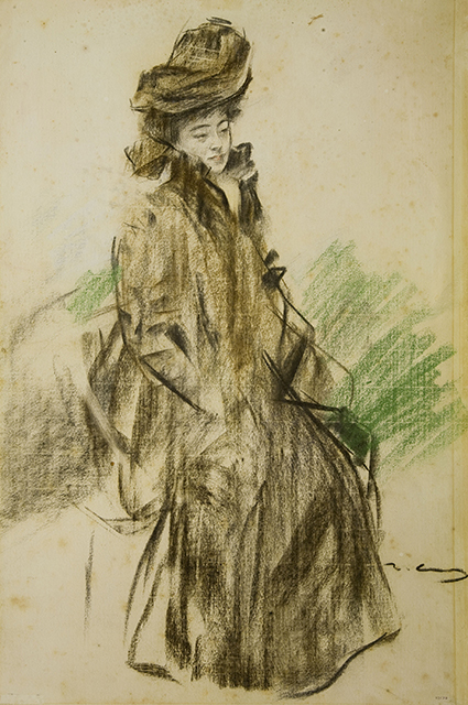 The figure of Ramon Casas, in a European costume