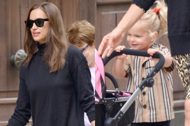 Irina Shayk with her daughter Leia on a walk in New York
