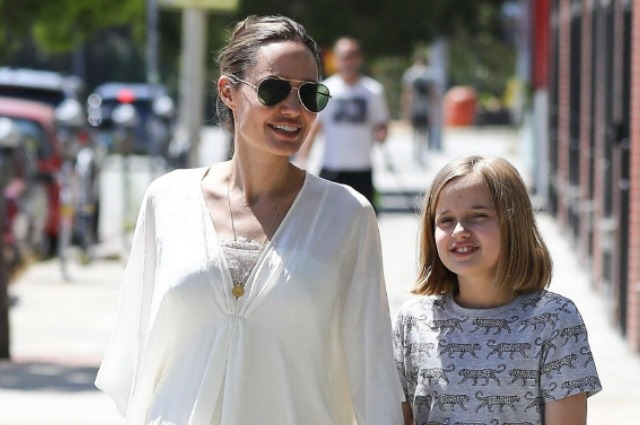 Angelina Jolie with her daughter Vivien on a walk in Los Angeles