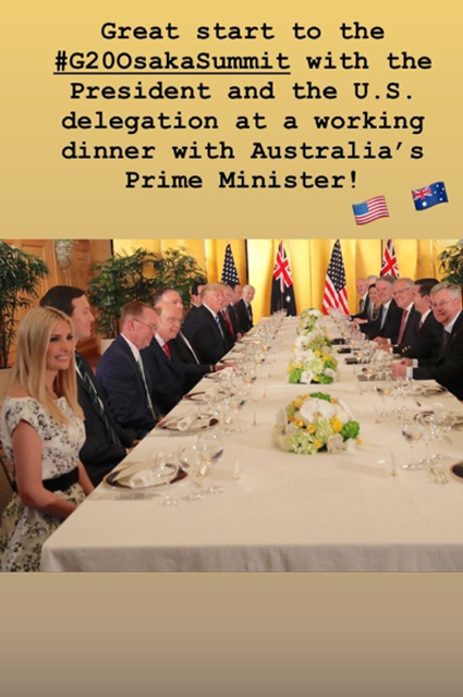 Ivanka Trump, Jared Kushner and Donald Trump at the dinner with the Prime Minister of Australia