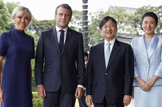 Brigitte and Emmanuel Macron met with the Emperor Naruhito of Japan and the Empress Masako in Tokyo
