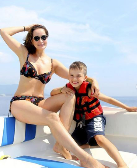 Olga Kabo with her son