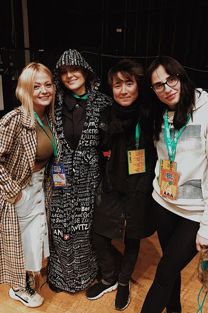 Renata Litvinova and Zemfira with guests