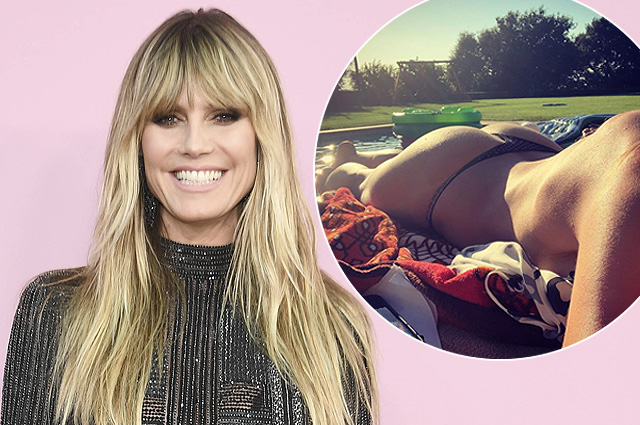 Heidi Klum preparing for the wedding with Tom Kaulitz, lying topless by the pool