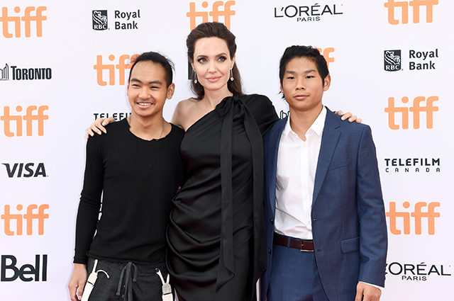 Angelina Jolie with sons Maddox and Pax