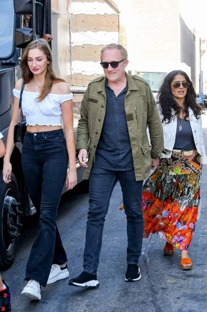 Francois-Henri Pino with daughter Matilda and Salma Hayek