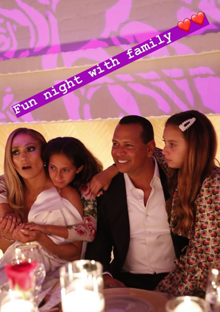 Jennifer Lopez and daughter Emma and Alex Rodriguez with daughter Ella