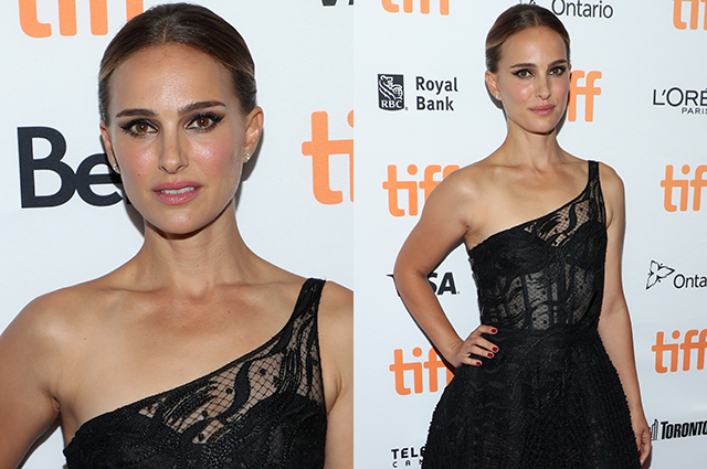 Natalie Portman in an elegant dress with lace at the premiere in Toronto
