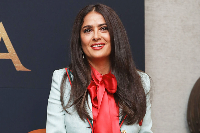 Salma Hayek at the presentation of the new series in Mexico City