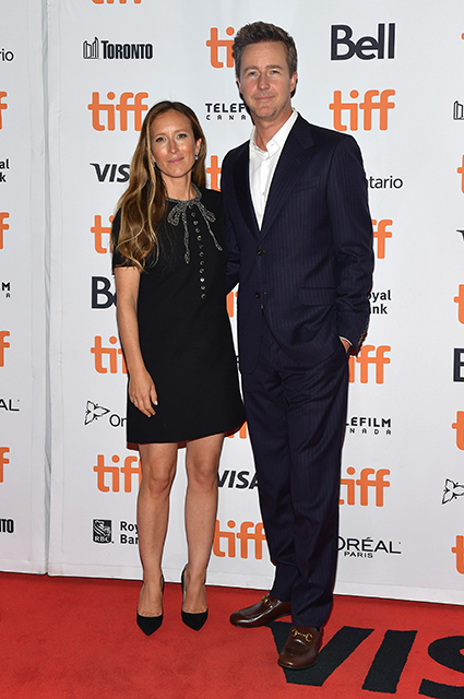 Edward Norton with his wife, Shona Robertson
