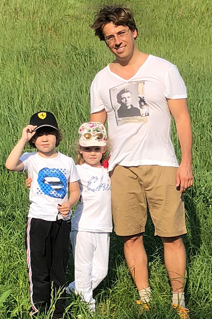 Maxim Galkin with his son Harry and daughter Lisa