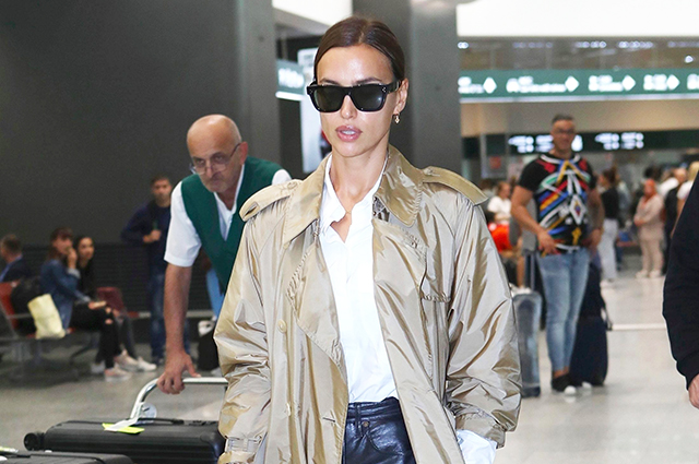 Irina Shayk in a stylish casual look at the airport of Milan