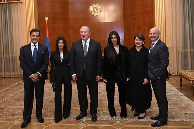 Kim and Kourtney Kardashian at a reception at the President of Armenia