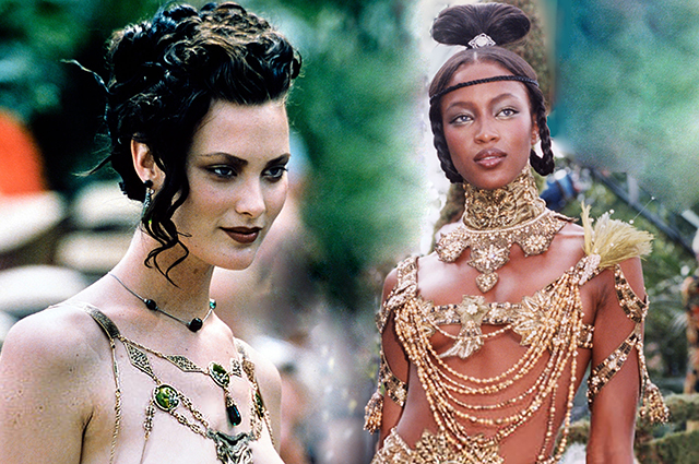 CultDisplay: Half-naked by Shalom Harlow and Naomi Campbell in gold at the John Galliano era Dior couture show