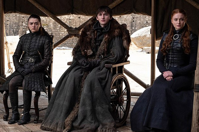 Macy Williams, Isaac Hempstead-Wright and Sophie Turner in the series