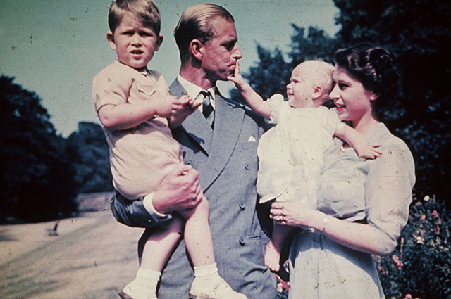 Prince Philip and Queen Elizabeth II with children, Charles and Anna