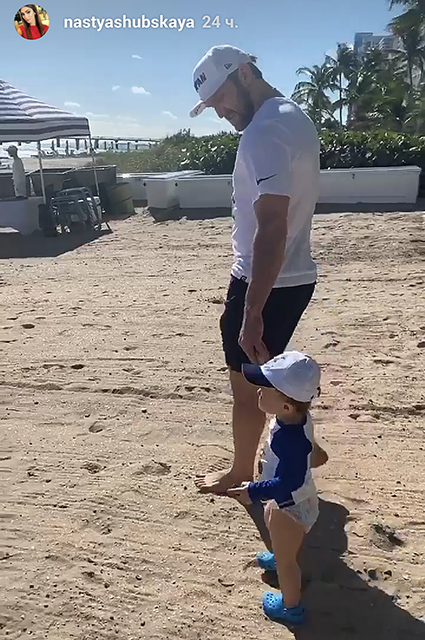 Alexander Ovechkin with his son