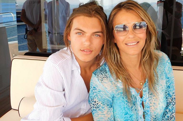 Elizabeth Hurley with her son Damian