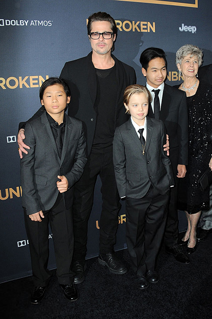 Brad Pitt with son Pax, daughter Shiloh and son Maddox