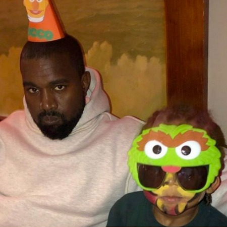 Kanye West with his son