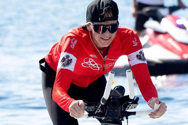 Prince Albert II of Monaco with children supported his wife Princess Charlene at the Water Bike Challenge