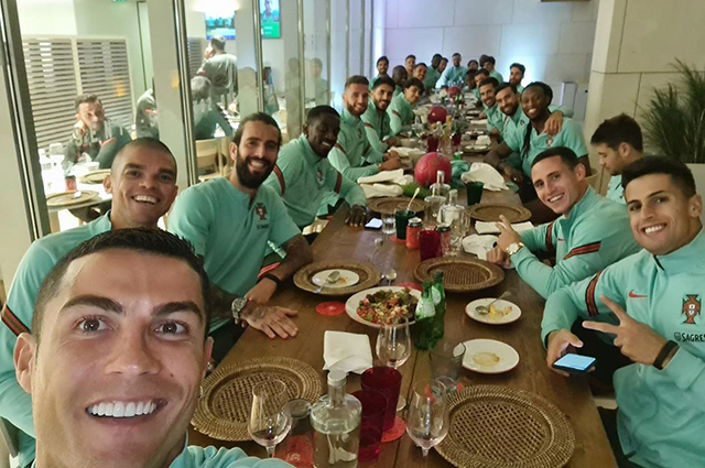 Cristiano Ronaldo and the Portugal national team players