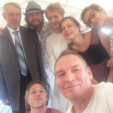 Sergey Bystrov and Olga Bodrova with relatives and friends