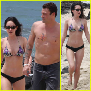 Megan Fox and husband Brian Austin Green at the beach