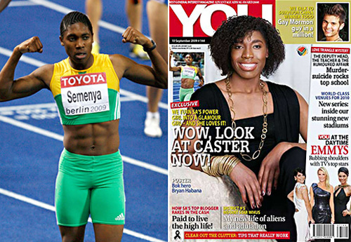 Our perfect day Caster Semenya captions wedding picture