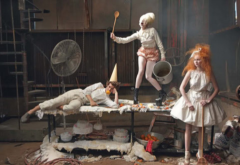 Lady Gaga & Lily Cole in British Vogue December 2009