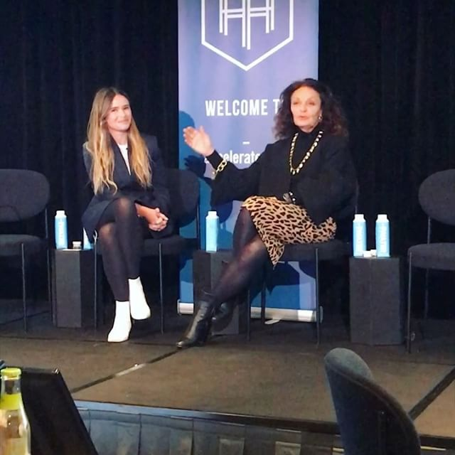 "FireSide Chat at Founders Forum with my Friend, Mentor and a Legend, Diane von Furstenberg @therealdvf    and a ""Russian Rocket"" as Diane nicknamed me            @fashiontechlab   credit: @gabrielahearst"
