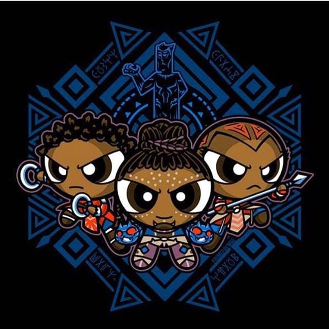 The Pantherpuff Girls are here for #InternationalWomensDay! We must see, respect and honor the different kinds of strength that all women possess and nurture it in each other. The individual strengths of Shuri, Okoye and Nakia coexist with the strength of T Challa. If you want to give a voice to women and girls around the world, take the pledge for my friend @DanaiGurira s organization #LoveOurGirls - link is in my bio. Shoutout to @primepremne for this fantastic illustration! #IWD #IWD2018 #WakandaForever
