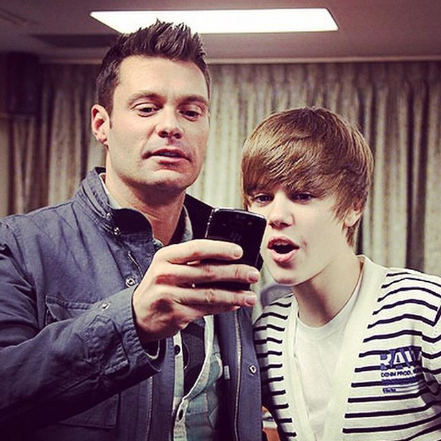 8 years and a few hairstyles ago. Happy bday @justinbieber! #tbt