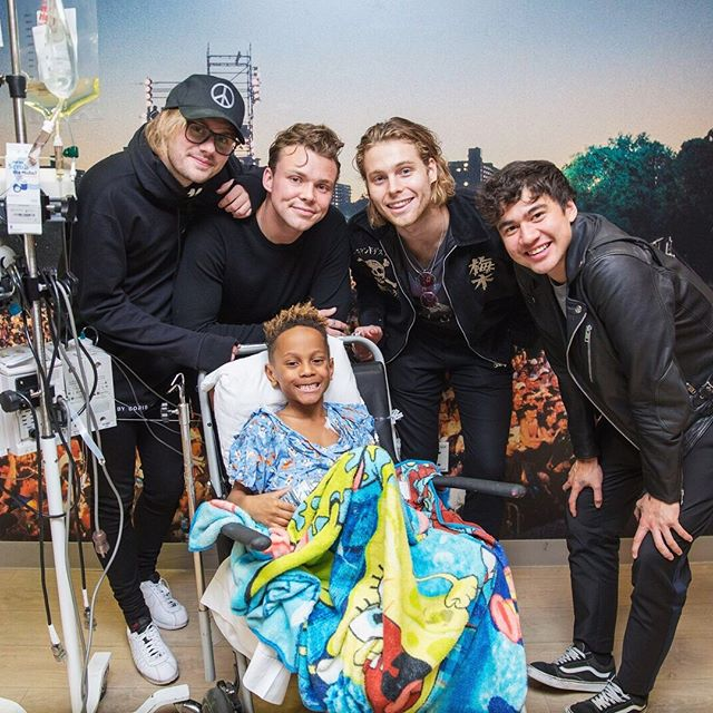 The kids at #seacreststudios in @childrensatl are huge @5SOS fans and yesterday they got to meet the band! Thank you Luke, Ashton, Calum and Michael for making their day :)